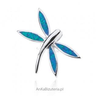 Broszko-wisior ważka srebrna z niebieskim opalem