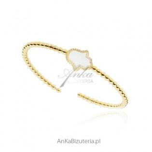 Bransoletka srebrna pozłacana z masą perłową i cyrkoniami