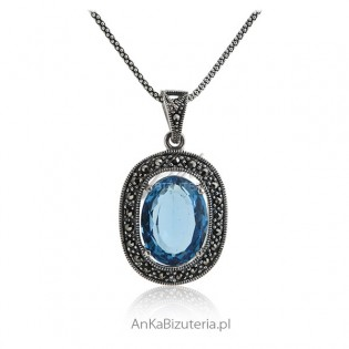 Wisior srebrny z markazytami i niebieską cyrkonią