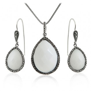 Biżuteria srebrna komplet Biały agat z markazytami