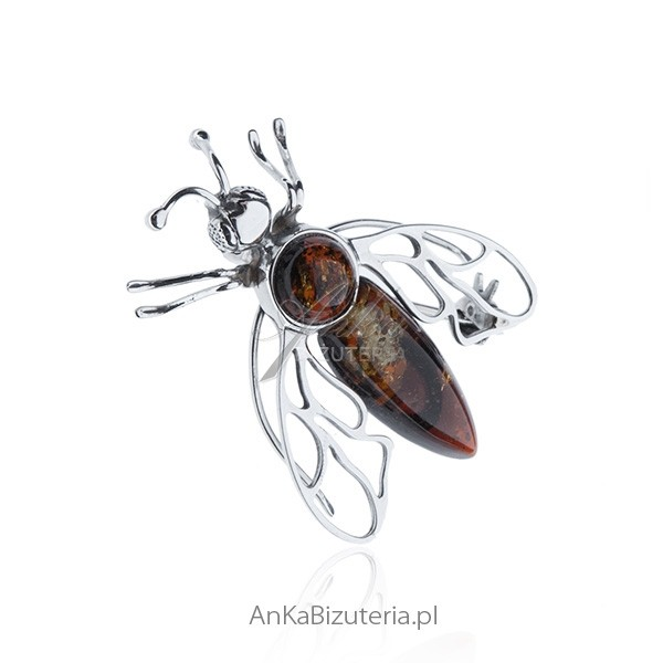 Pszczola srebrna broszka z naturalnymi kamieniami bursztynem