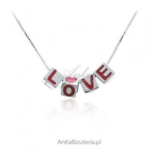 Srebrna biżuteria Naszyjnik Love