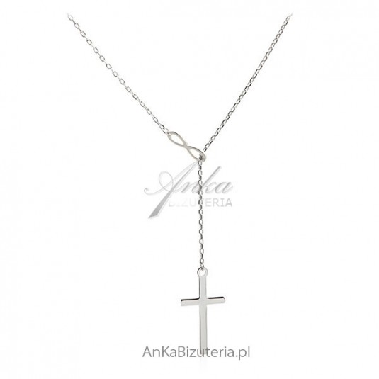Modna biżuteria Naszyjnik srebrny z krzyżykiem