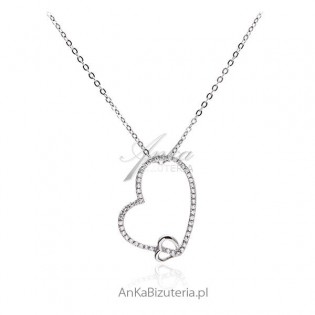 Naszyjnik srebrny serce z cyrkoniami