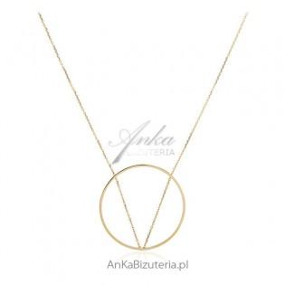Biżuteria srebrna - Piękny długi naszyjnik pozłacany