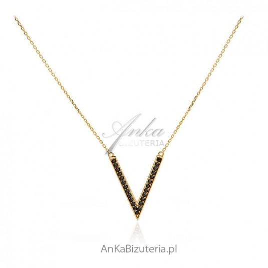 Biżuteria srebrna Naszyjnik srebrny pozłacany z czarnymi cyrkoniami