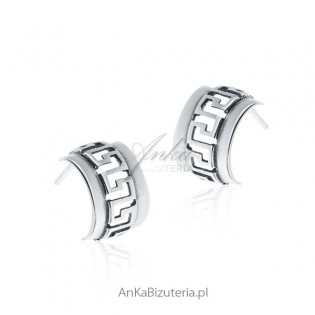 Biżuteria srebrna - Kolczyki srebrne z greckim wzorem