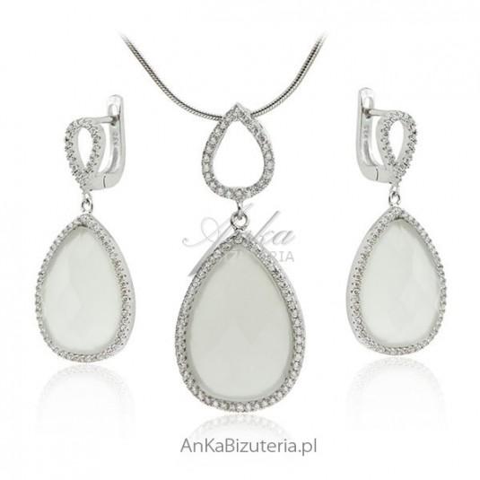 Biżuteria ślubna _ Komplet biżuterii z białymi kamieniami