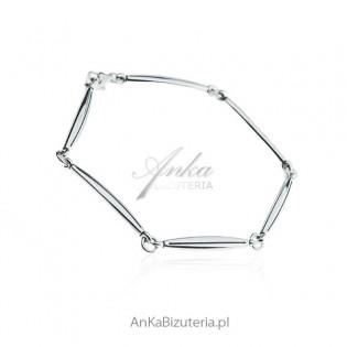 Modna biżuteria damska - Bransoletka srebrna pałeczki