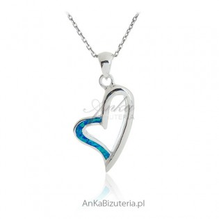 Zawieszka srebrna z opalem - Serce
