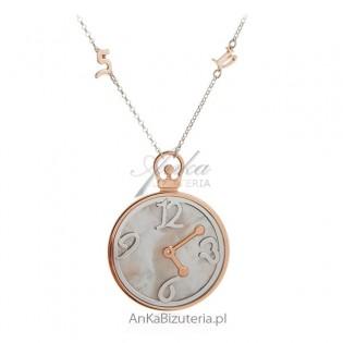 Duży naszyjnik srebrny pozłacany - zegar