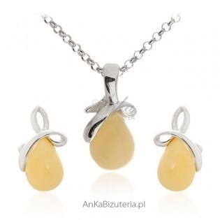 Komplet srebrny z żółtym bursztynem