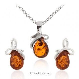 Komplet biżuterii srebrnej z bursztynem