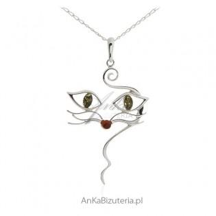 Zawieszka srebrna z bursztynem Kot