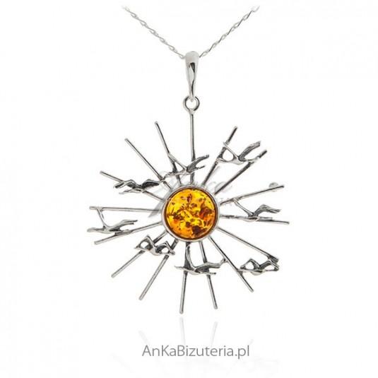 Zawieszka srebrna z bursztynem Słońce i mewy