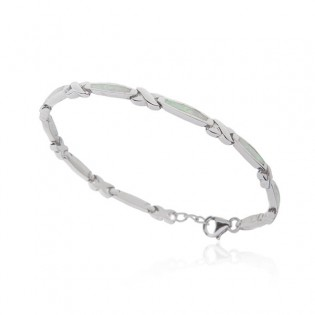 Bransoletka srebrna z białym opalem