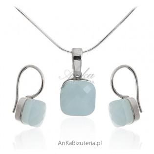 Modna biżuteria dmska - Komplet biżuterii srebrny z agatem