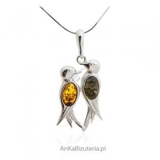 Srebrna biżuteria: Zawieszka srebrna z bursztynem Dwa ptaszki