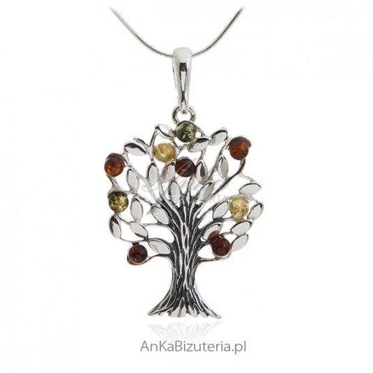 cca7abbe4fcc Zawieszka srebrna z bursztynem drzewko Biżuteria srebrna zawieszki z ...