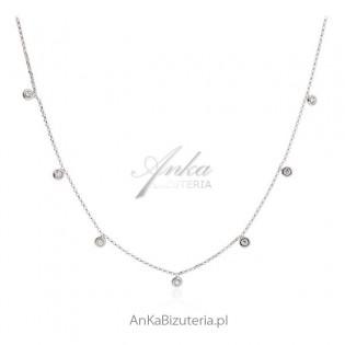 Naszyjnik srebrny z cyrkoniami Biżuteria włoska