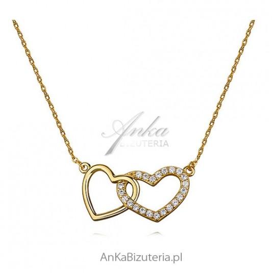Modna biżuteria - Naszyjnik srebrny pozłacany z cyrkoniami
