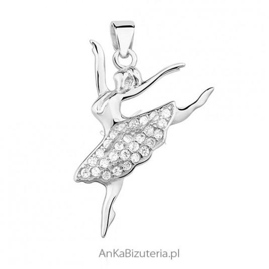 Zawieszka srebrna - Baletnica z cyrkoniamii