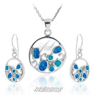 Komplet biżuterii srebrny z niebieskim opalem