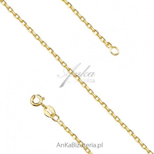 Łańcuszek srebrny Rolo diamentowany pozłacany