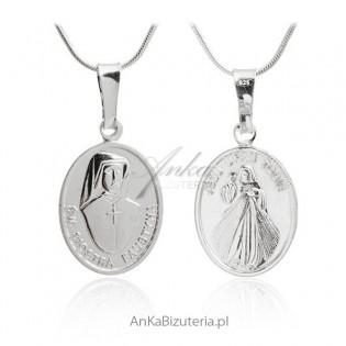 Medalik srebrny Św Faustyna