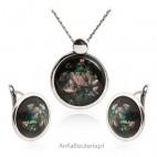 Komplet biżuterii srebrny z opalem