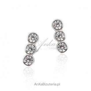 Kolczyki srebrne z cyrkoniamii - Biżuteria srebrna