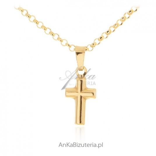 Krzyżyk srebrny pozłacany