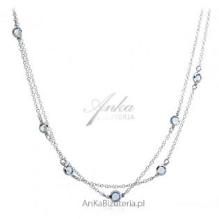 Naszyjnik srebrny z niebieskimi cyrkoniamii
