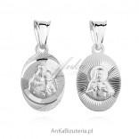 Medalik srebrny Jezus / Matka Boska Szkaplerzna - rodowana