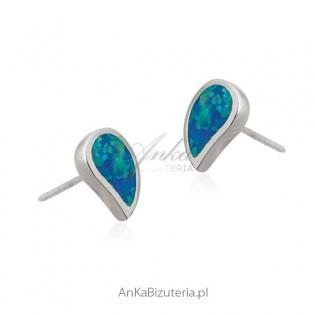 Kolczyki srebrne z niebieskim opalem - KROPELKI