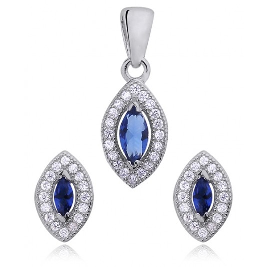 Komplet biżuterii srebrny z cyrkoniamii - Markizy