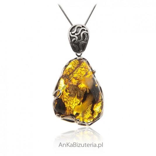 Ekskluzywna biżuteria damska Zawieszka srebrna z bursztynem