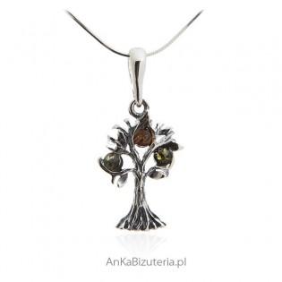 Zawieszka srebrna z bursztynem - Drzewko szczęścia