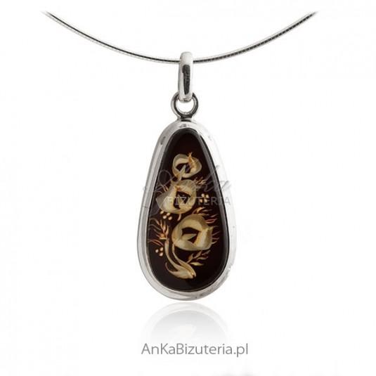 Zawieszka srebrna z bursztynem - Biżuteria artystyczna