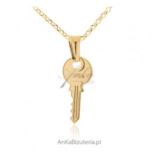 Zawieszka srebrna kluczyk pozłacany