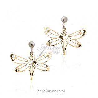 Kolczyki srebrne ważki - Biżuteria srebrna pozłacana