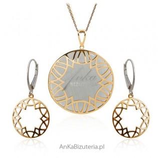 Komplet biżuteria srebrna z szarym kamieniem - pozłacany