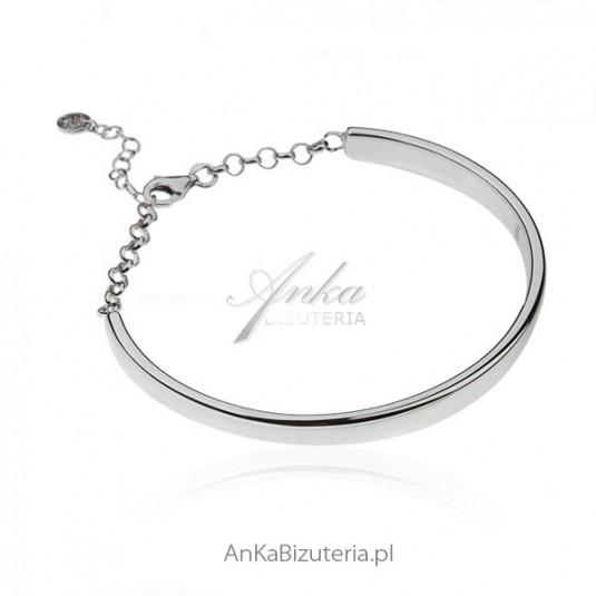 Bransoletka srebrna rodowana . Klasyczna biżuteria