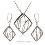 Komplet biżuterii srebrny rodowany