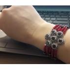 Piękna bransoletka srebrna z granatami koralami markazytami i onyksami