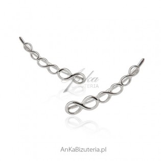 Nausznice kolczyki srebrne - Nieskończoności