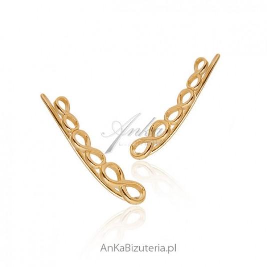 Kolczyki srebrne - Modna biżuteria nausznice pozłacane - Nausznice