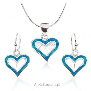 Opal niebieski biżuteria srebrna