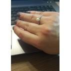Pierścionek srebrny z białą perełką
