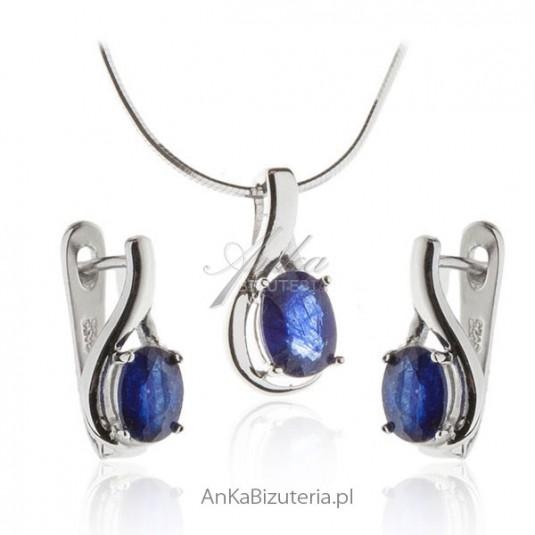 1716bacf249f04 Komplet biżuterii srebrny z szafirem Biżuteria srebrna komplety w ...